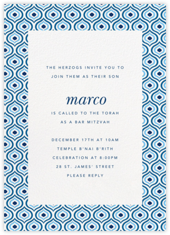 Florianopolis - Blue - Paperless Post - Bar and Bat Mitzvah Invitations