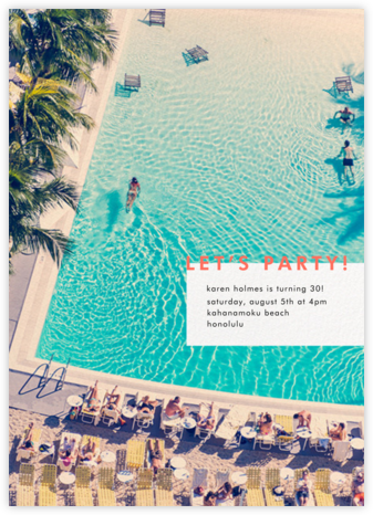 Swimming Pool - Gray Malin - Adult Birthday Invitations