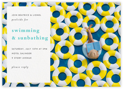 Yellow Inner Tubes - Gray Malin - Pool Party Invitations