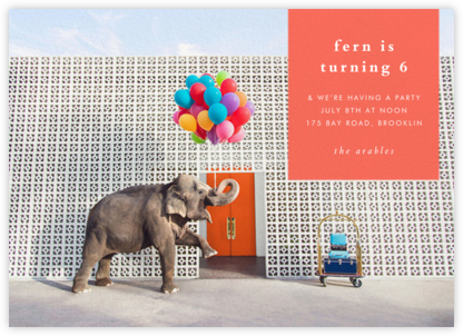 Elephant with Balloons I - Gray Malin - Birthday invitations