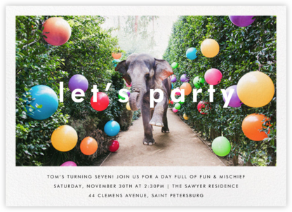 Elephant with Balloons II - Gray Malin - Online Kids' Birthday Invitations