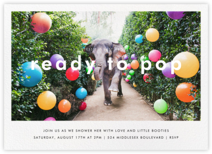 Elephant with Balloons II - Gray Malin - Adult Birthday Invitations