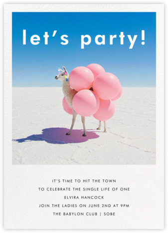 Llama with Balloons - Gray Malin - Bachelorette Party Invitations