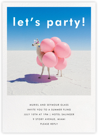 Llama with Balloons - Gray Malin - Adult birthday invitations