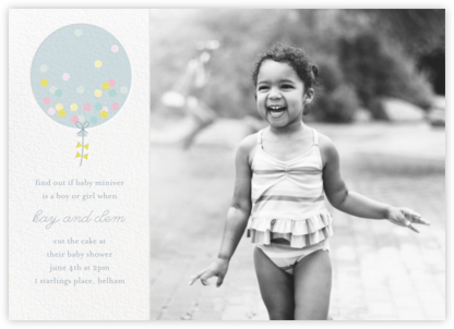 Confetti Balloon - Blue - Little Cube - Baby shower invitations