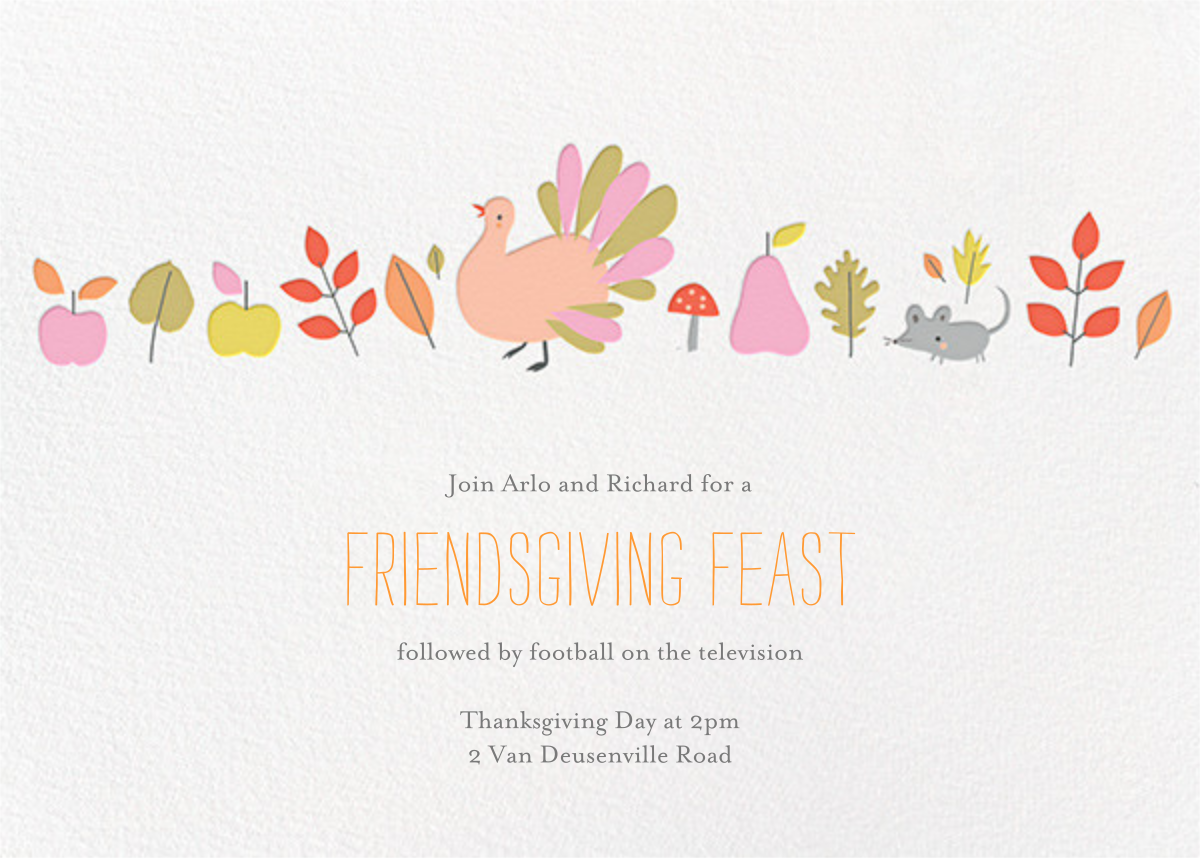 Feathers' Fine Feast - Little Cube - Thanksgiving invitations