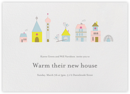 Birdie's Town (Horizontal) - Little Cube - Housewarming party invitations