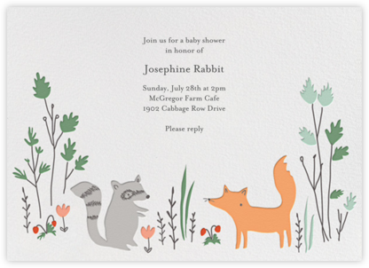Bandit and Foxy - Little Cube - Woodland Baby Shower Invitations
