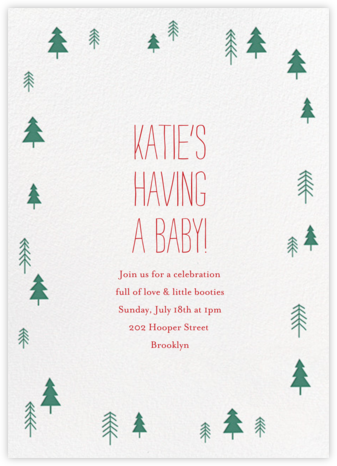 Tiny Town Forest - Green - Little Cube - Baby shower invitations