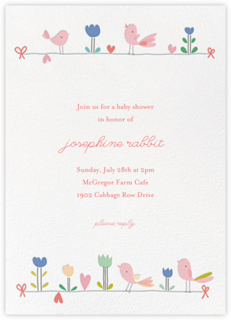 Birdie and Friends - Little Cube - Baby shower invitations