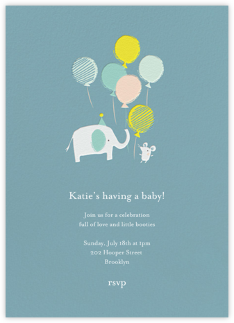 Ellie's Party - Blue - Little Cube - Elephant Baby Shower Invitations