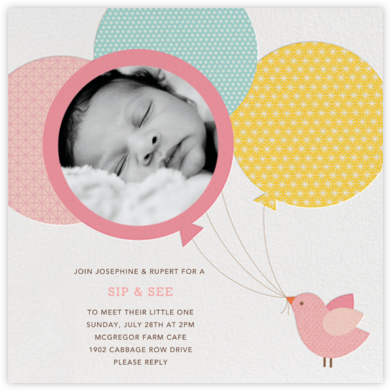 Bird Balloon - Pink - Petit Collage - Baby Shower Invitations