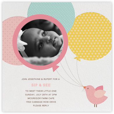 Bird Balloon - Pink - Petit Collage - Baby Shower Invitations