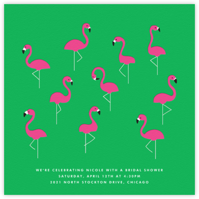 Flamingos - The Indigo Bunting - Bridal shower invitations