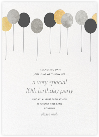 Balloons - Metallic - Paperless Post - Birthday invitations