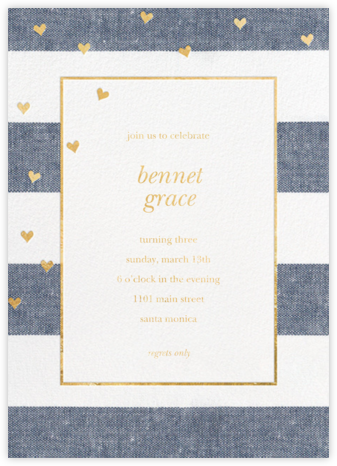 Chambray Stripe with Hearts - Sugar Paper - Online Kids' Birthday Invitations