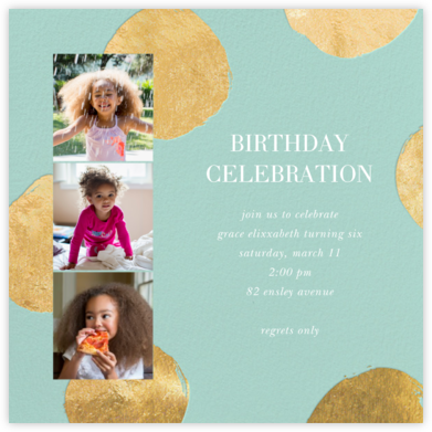 Photo Strip Dots - Mint - Sugar Paper - Online Kids' Birthday Invitations