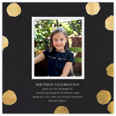 Reese (Photo) - Black/Gold - Sugar Paper - Online Kids' Birthday Invitations