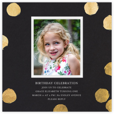Reese (Photo) - Black/Gold - Sugar Paper - Birthday invitations