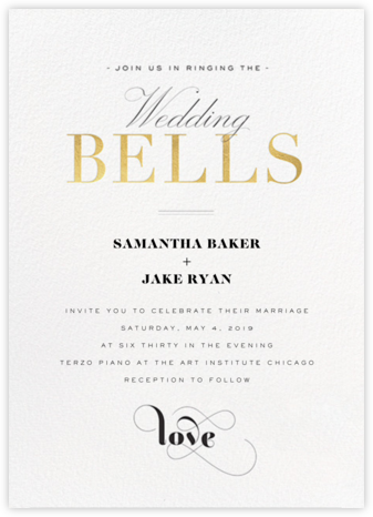 Wedding Bells (Invitation) - Gold - bluepoolroad - bluepoolroad invitations and cards