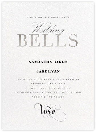 Wedding Bells (Invitation) - Silver - bluepoolroad -