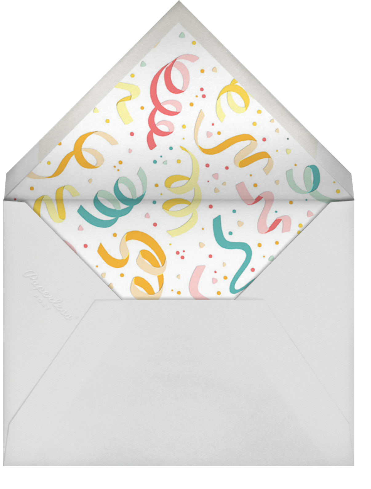 Confetti and Streamers - Multi - Paperless Post - Casual entertaining - envelope back