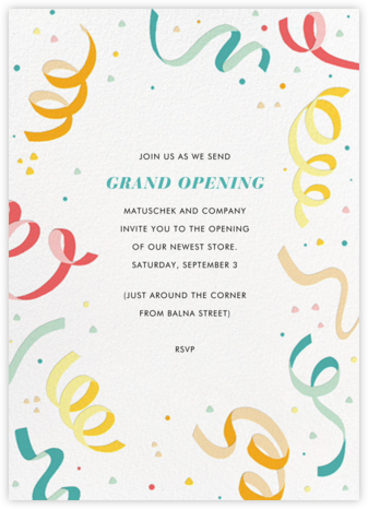 Confetti and Streamers - Multi - Paperless Post - Casual Party Invitations