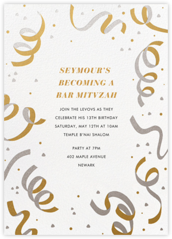 Confetti and Streamers - Gold/Silver - Paperless Post - Bat and Bar Mitzvah Invitations