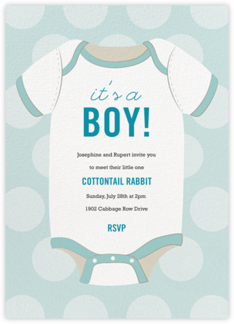 Baby Onesie - Blue - Paper Source - Baby Shower Invitations