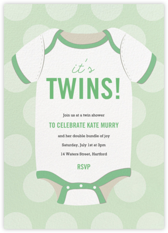 Baby Onesie - Green - Paper Source - Baby shower invitations