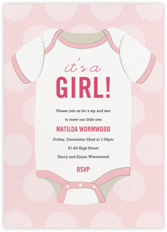 Baby Onesie - Pink - Paper Source - Baby Shower Invitations