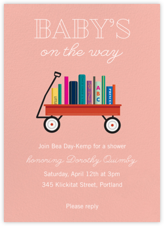 Book Shower - Papaya - Paper Source - Baby Shower Invitations