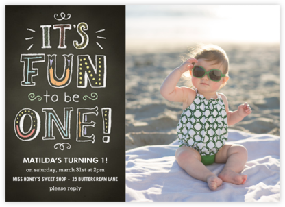 Chalk Fun to be One - Paper Source - Online Kids' Birthday Invitations