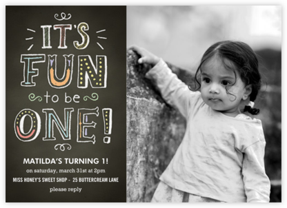 Chalk Fun to be One - Paper Source - Birthday invitations