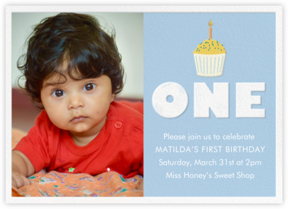 Cupcake First Birthday - Blue - Paper Source - Online Kids' Birthday Invitations
