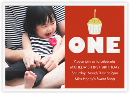 Cupcake First Birthday - Red - Paper Source - Online Kids' Birthday Invitations