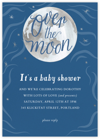 Over the Moon - Paper Source - Baby shower invitations