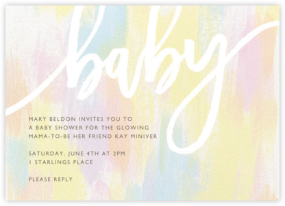 Baby shower invitations online at paperless post pastel brush stopboris Image collections