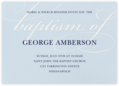 Script Baptism - Light Blue - Paper Source - Christening Invitations