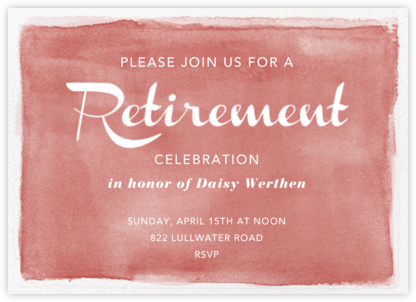 Watercolor Retirement - Maquillage - Paper Source - Retirement invitations, farewell invitations