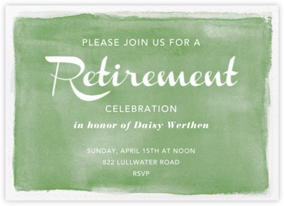 Watercolor Retirement - Green - Paper Source - Business event invitations