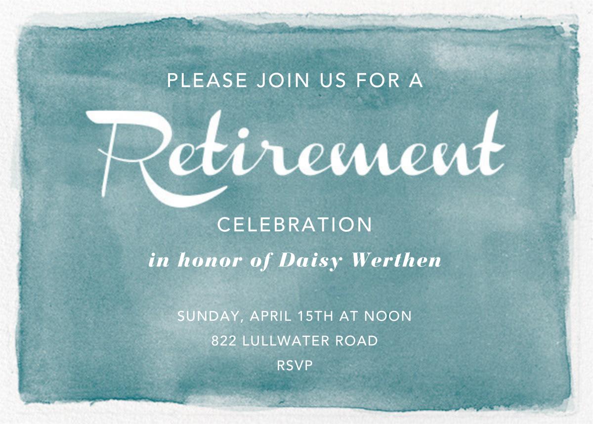Watercolor Retirement - Teal - Paper Source - Retirement invitations, farewell invitations