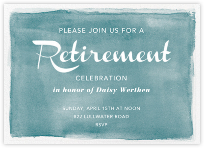 Watercolor Retirement - Teal - Paper Source - Professional party invitations and cards