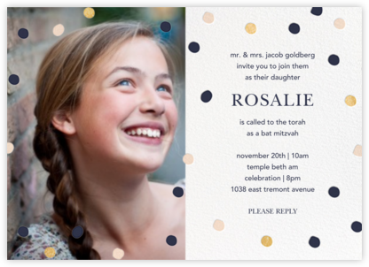 Painted Spots (Photo) - Navy/Gold/Pink - Sugar Paper - Bat and Bar Mitzvah Invitations