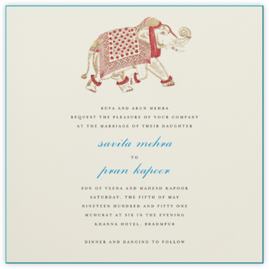 Engraved Elephant - Bernard Maisner - Indian Wedding Cards
