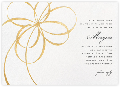 Belle Boulevard (Invitation) - Gold - kate spade new york - Bat and Bar Mitzvah Invitations