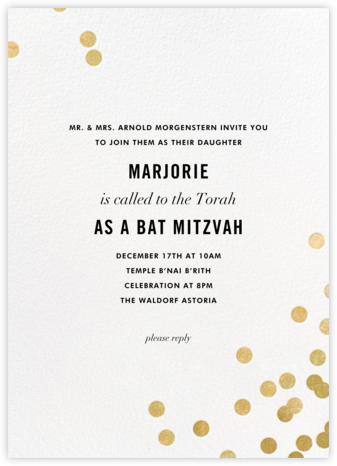 Confetti - White/Gold - kate spade new york - Bar and Bat Mitzvah Invitations
