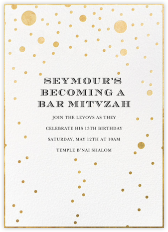 Champagne Bubbles (Single-Sided) - kate spade new york - Bat and Bar Mitzvah Invitations