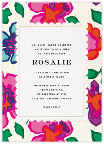 Floral Punch - kate spade new york - Bat and Bar Mitzvah Invitations