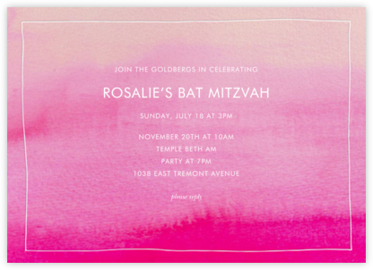 Pink Watercolor - Linda and Harriett - Bar and Bat Mitzvah Invitations